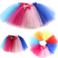 2016 New Justaucorps Retail Children Tulle Baby Tutu Skirt Rainbow Cake Girls Skirts 1-10tsaia Ballet Fantasia Free Shipping