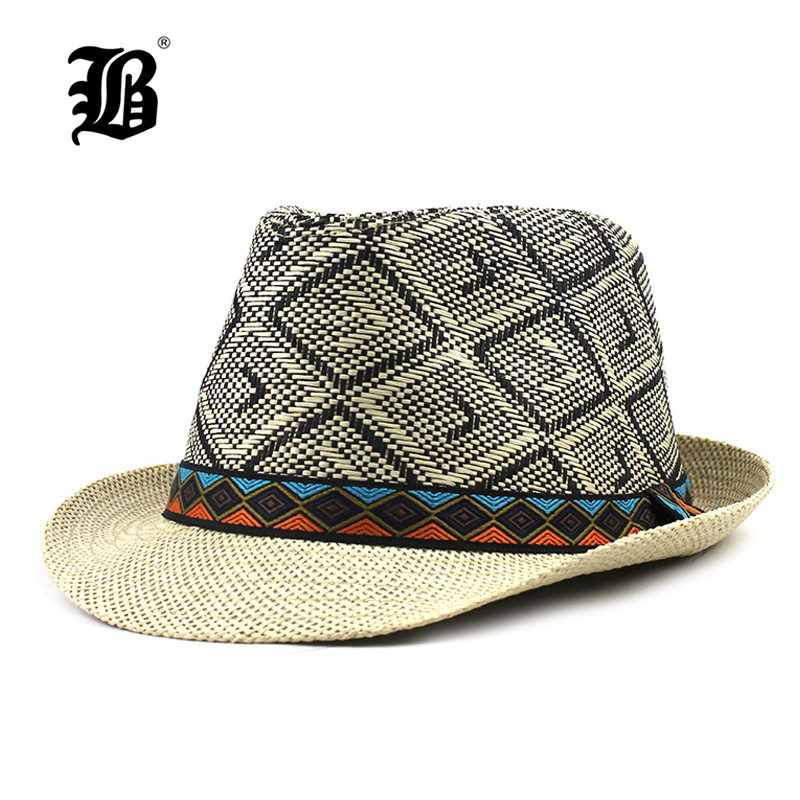 [FLB] Hot 2019 Fashion Summer Beach Hat Large Brim Jazz Sun Hat Casual Unisex Panama Hat Straw Women Men Cap F348