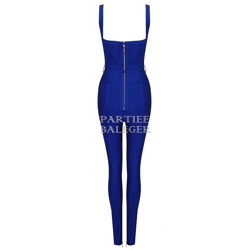 V Cou Celebrity Nu Femmes Arrivée Salopette Manches rouge Ceintures Bleu Conception Party Bandage Dos 2019 Nouvelle Sans Sexy BAf1gg