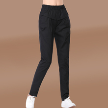 Fashion Women Summer Pants Elastic Waist Candy Color Spring Casual Lady Office Cotton Linen Plus