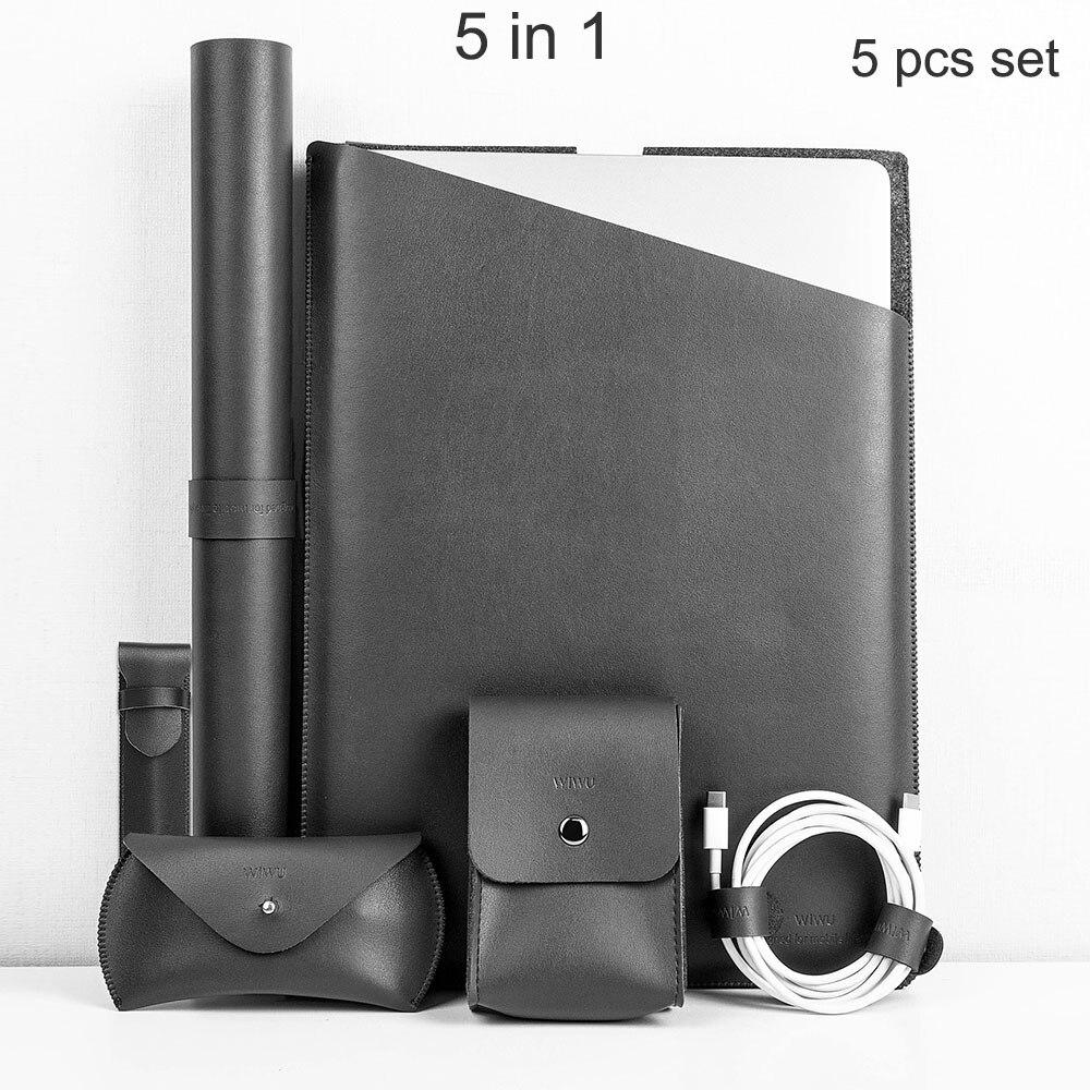 WIWU Laptop Sleeve Bag for MacBook Pro 13 Case 5 pieces set PU Notebook Case 13.3 Fashion Laptop Bag Case for MacBook Air 13
