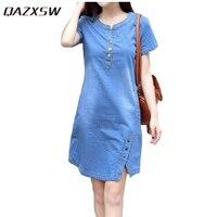 QAZXSW Summer Autumu Slim Denim Dress For Women 2017 Fashion Jeans Dress With Button Plus Size