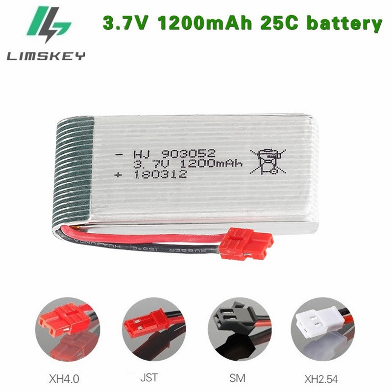 3.7V 1200mah Lipo Battery For Syma X5HC X5HW X5UW X5UC RC Quadcopter Spare Parts 1200mA 3.7V Battery RC Camera Drone Accessories