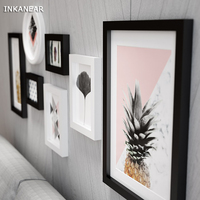 Large Photo Frames Modern Pineapple Office Store Home Wall Decoration Wood Painting Pictures Frame Set HF929