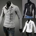 Men's Slim English Printing Casual Long Sleeve Polo Shirt Top Basic Tee GJT9061