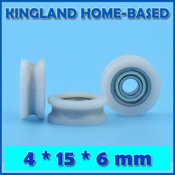 10 Pcs 4*15*6mm U Groove POM Nylon Plastic Embedded Groove Ball Bearings Guide Pulley Window Roller Sliding Window Wheels
