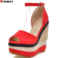ASUMER Peep Toe Buckle Platform Wedges Shoes For Woman Fashion Summer New High Heels Sandals Casual