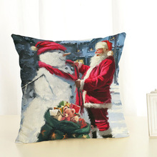 цены на 2019 New Year 45x45cm Santa Claus and Snowman Pattern Home Decor Linen Pillowcase Merry Christmas Decorations for Home Navidad  в интернет-магазинах