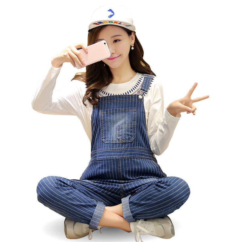 Pregnant Women Vertical stripe Overalls Maternity Clothing Pants Suspender Trousers Pregnancy Jumpsuits Y809