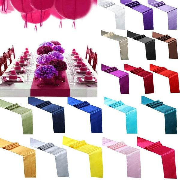 30x275cm Satin Table Flag Runner For Wedding Party Event Banquet Home Table Decoration Supply Table Cover Tablecloth Accessories