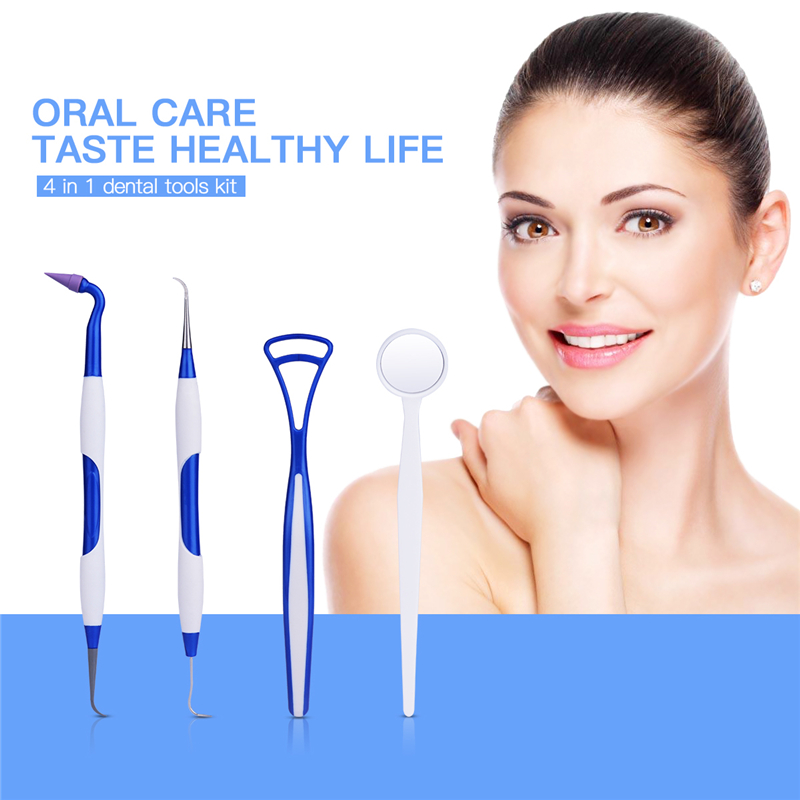 4Pcs Teeth Whitening Dental Tool Kit Scraper Mirror Scaler Set Plaque Debris Remover Tartar Removing Device Oral Hygiene S46