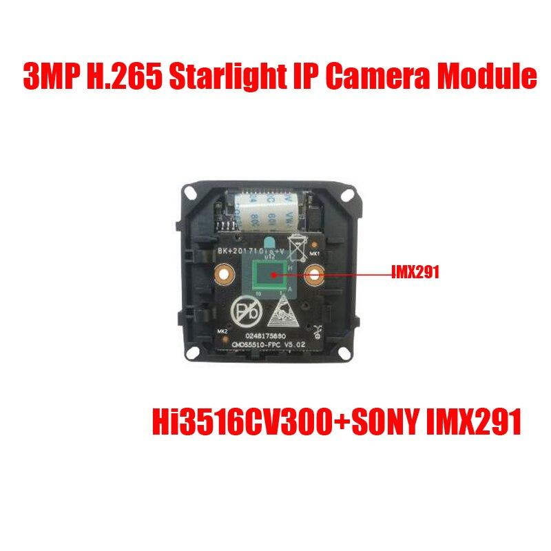 Livraison gratuite H.265 sony imx 291 à faible luminosité CMOS 3MP module de caméra IP HD carte de caméra IP CCTV caméra IP