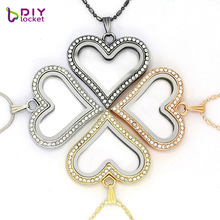 5PCS diylocket Silver Heart magnetic glass floating charm locket Zinc Alloy+Rhinestone (chains included for free)LSFL05-1*5