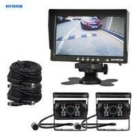 DIYSECUR AHD 7 TFT LCD Backup Monitor Rear View Monitor 2 x Waterproof IR Night Vision 960P AHD Camera for Bus Houseboat Truck