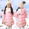 Chaqueta de invierno Para Niñas de Flores Con Capucha Parka Niñas 5-11 Años Los Niños Abrigos de Invierno Para Niñas Adolescentes de La Moda Niños Prendas de Vestir Exteriores