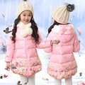 Jaqueta de inverno Para As Meninas Flor Com Capuz Parka Meninas 5-11 Anos As Crianças Inverno Casacos Para Meninas Adolescentes Moda Crianças Casacos da mulher