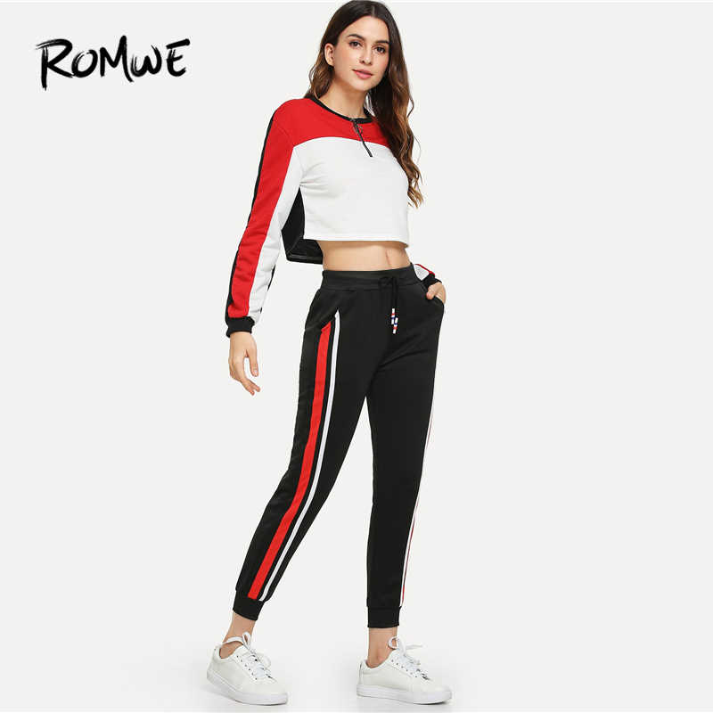 ae1263ea39006c ... ROMWE Black Drawstring Waist Striped Side Pants Women Casual Autumn  Fashion Sweatpants Bottoms Sporty High Waist