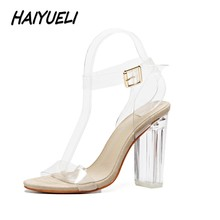 HAIYUELI Women gladiator sandals pumps thick high heels shoes woman Crystal Clear Transparent ankle strap party wedding shoes