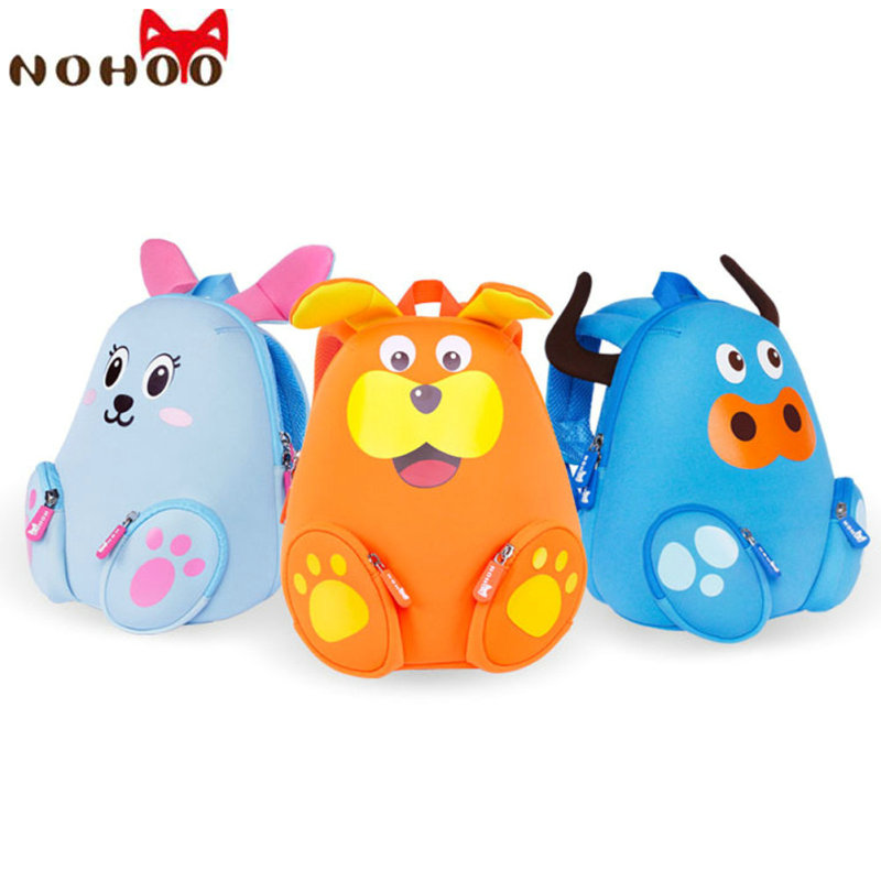 NOHOO 3D Cartoon Animals School Bags F Teenage Girls Waterproof Cute Children Backpacks Kids Baby School
