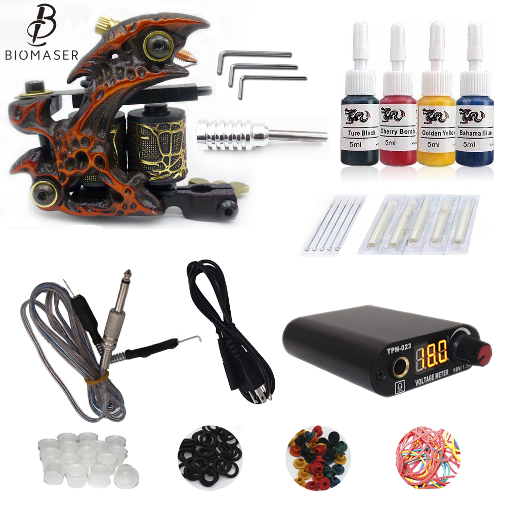 Free Ship Complete Professional Tattoo Kit With IMMORTAL High Quality Brand Ink As Gift Tattoo Power Supply 2017 hot sale high quality lcd display black tattoo power supply for permanent makeup tattoo kit free ship by epacket