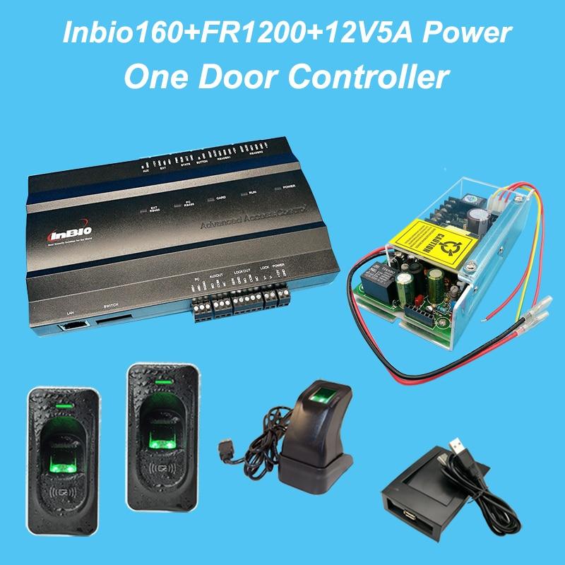 Inbio160 One Door Biometric fingerprint door access control system Kit +12V5A battery function power+FR1200+Zk4500 Reader zk f19 fingerprint recognition door access control system tcp ip linux system biometric fingerprint access controller reader kit
