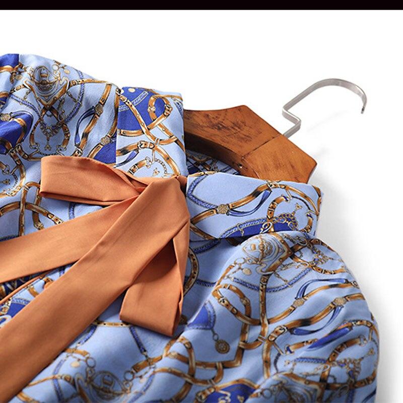 Bleu Printemps Manches 2019 D'été Loisirs Casual Soie De Mousseline Blouses Longues Femmes Pour Mode À Tops Arc Lady K094 Imprimé Office Col XxY16q6w