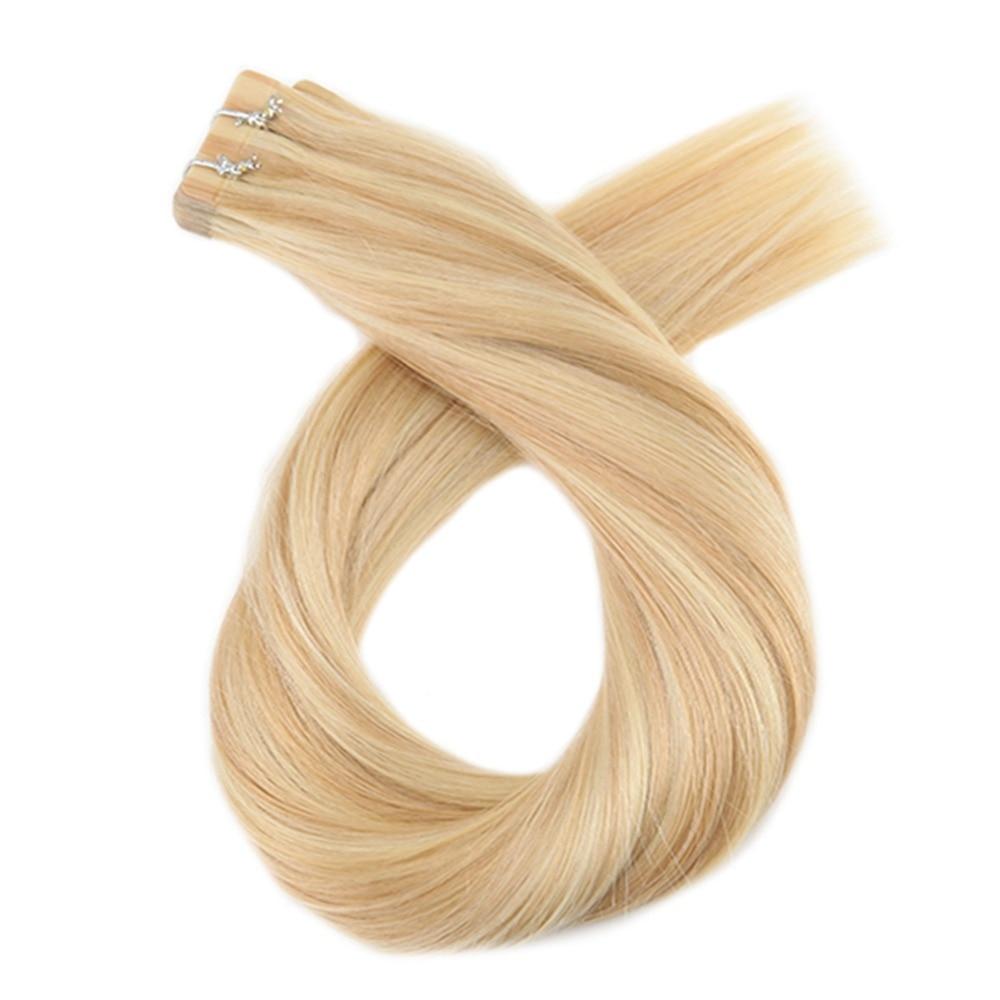 Moresoo человеческие волосы для наращивания лента в волосах подчеркивает цвет бразильские натуральные волосы с неповрежденной кутикулой для наращивания #16 изюминка с блондином - 2