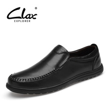 CLAX Mens Leather Shoes Dress 2019 Spring Summer Mans Formal Shoe Genuine Male Wedding Footwear SLip on