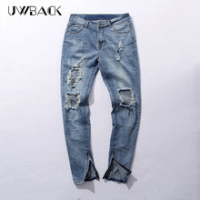 Uwback 2017 New Street Wear Mens Destroyed Jeans Hole Casual Pants Damage Jeans Fear Of God Ripped Jeans Mens CAA071(China)