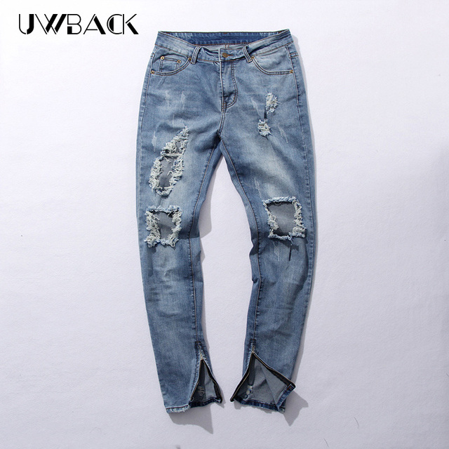 115b7e2c02 US $24.5 50% OFF|Uwback 2017 New Street Wear Mens Destroyed Jeans Hole  Casual Pants Damage Jeans Fear Of God Ripped Jeans Mens CAA071-in Jeans  from ...