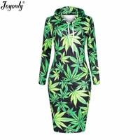 Joyonly 2017 Women 3D Print Dress Green Weed Brand Design Hooded Dresses Pullovers Hoodies Long Sweatshirt
