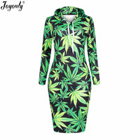 Joyonly 2017 Women 3D Print Dress Green Weed Brand Design Hooded Dresses Pullovers Hoodies Long Sweatshirt