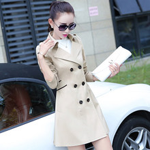 Luxurious Model Runway Lengthy Trench Coat for Girls 2015 Autumn Plus Measurement Double Breasted British Fashion Trench Coat Windbreaker H4627