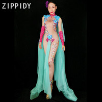 New Style Big Flowers Rhinestones Stretch Nude Jumpsuit Women's Sexy Costume Female Singer Dance Stage Wear Green Mesh Outfit