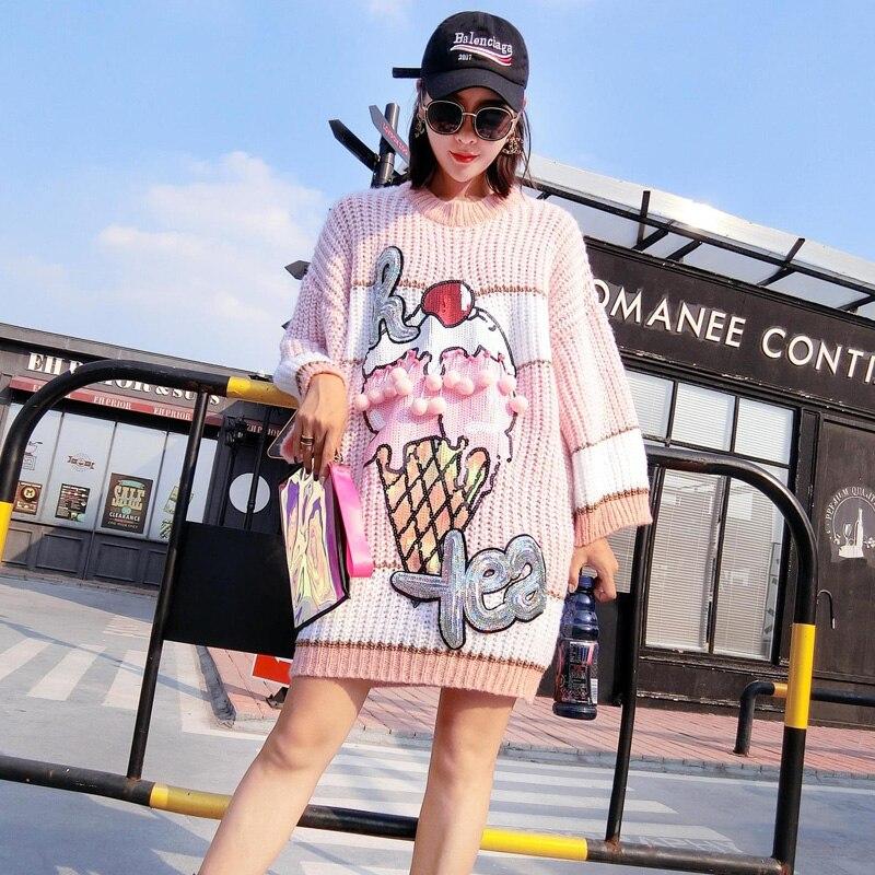 Thaïlande 2018 automne nouvelle mode européenne et américaine lâche pull chandail coréen crème glacée rayé chandail carte de marée femme