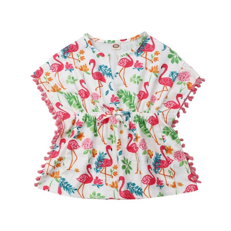 Girls Beach Cover Up Floral Beach Dress Swimsuit Cover Up Loose Swim Dress Beachwear Kids Tunic Children Swim Wear Robe Plage