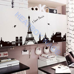 Cheap DIY black Eiffel Tower Environmental Vinyl Wallpaper bedroom 60 90cm  Removable Decal Wall Stickers Mural. Eiffel Tower Bedroom   Emu Birds com