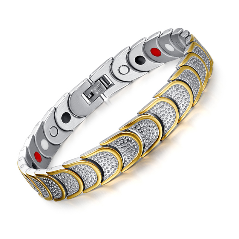 Swyss Health Energy Bracelet Magnetic Gold Plated Black with Gold Plated Titanium Couples Bracelet