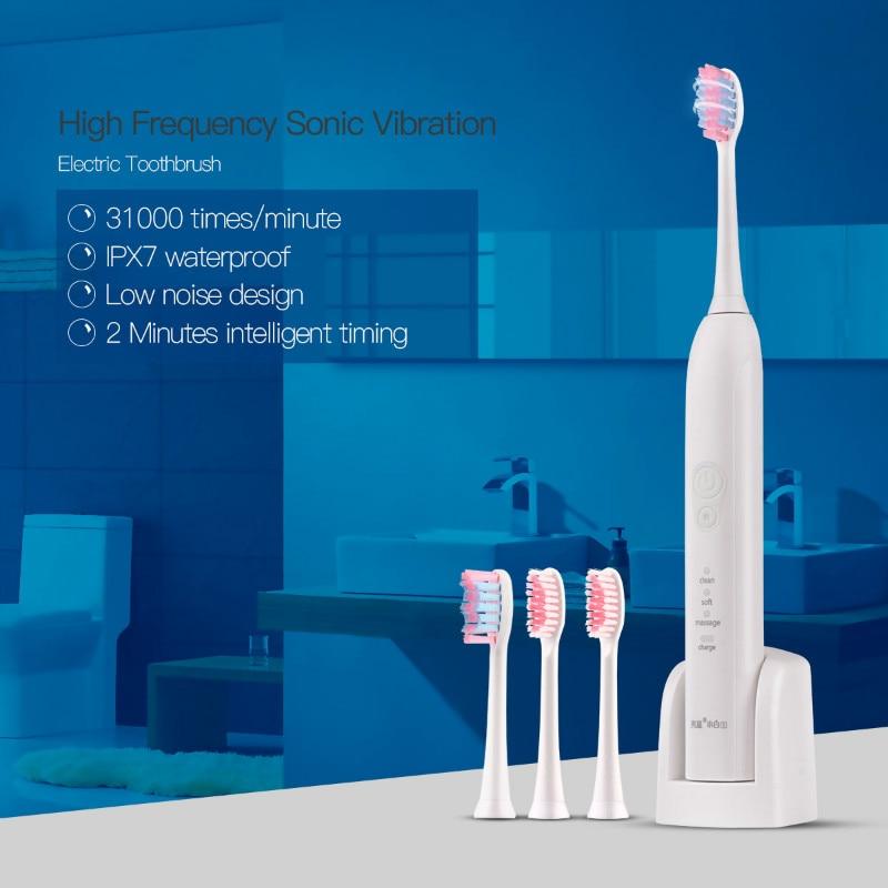LANSUNG Electric Teethbrush Ultrasonic Tooth Brush Sonic Electric Toothbrush Rechargeable Toothbrushes+4 Pcs Brush Heads lansung oral hygiene rechargeable ultrasonic electric toothbrush sonic teeth tooth brush electronic toothbrushes sonicare brush