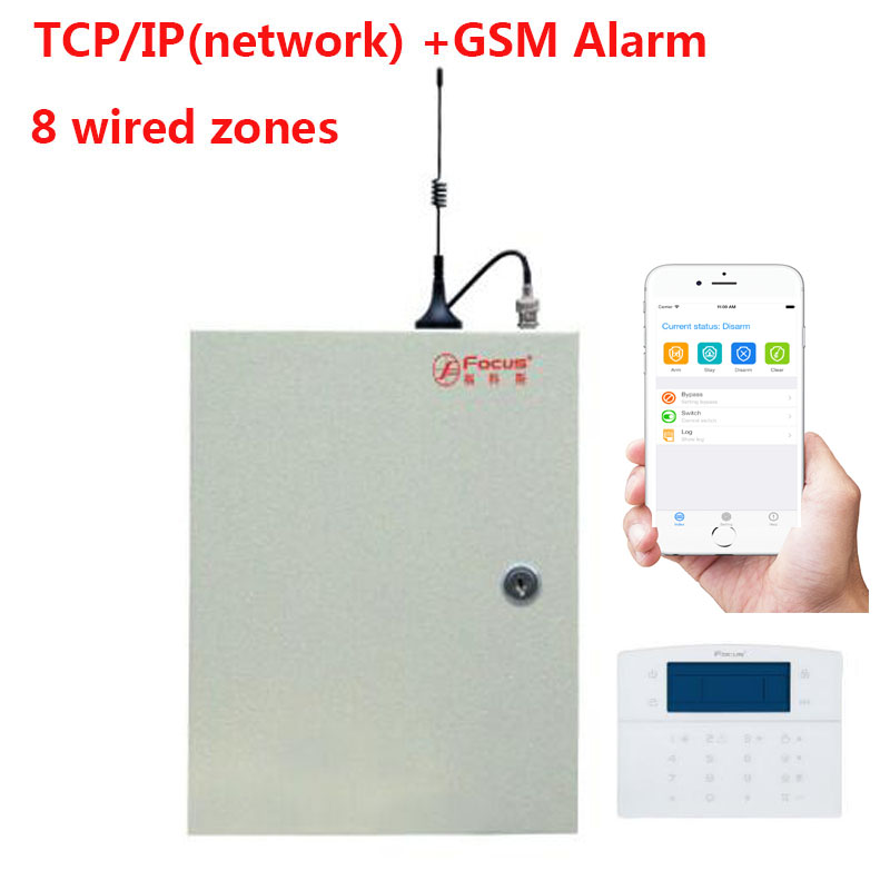 IP Network computer APP control+GSM sim card wireless+wired security alarm system supporting CMS center
