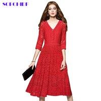 SORCHIDF Dresses Women Elegant Vintage Lace Dress Three Quarter Sleeve V Neck Casual Clothing Vestidos Dresses