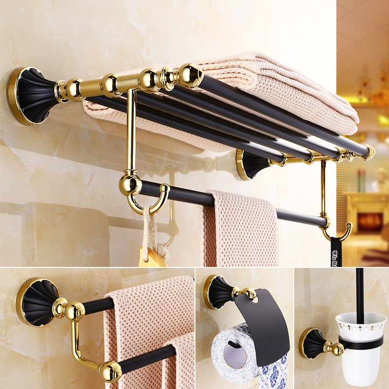 Golden And Black European Style Bathroom Pendant American Stainless Steel Antique Brass Bathroom Hardware Set Wall Mounted