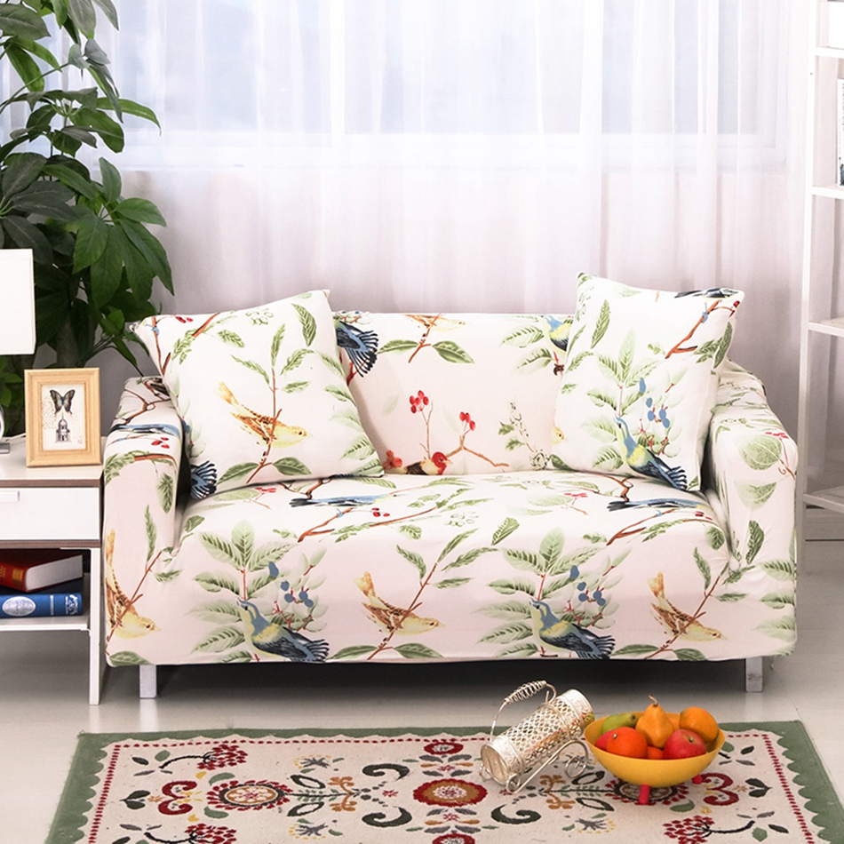 Pastoral flowers print stretch sofa cover for living room,multi-size elastic couch sofa cover,anti-slip corner sofa covers