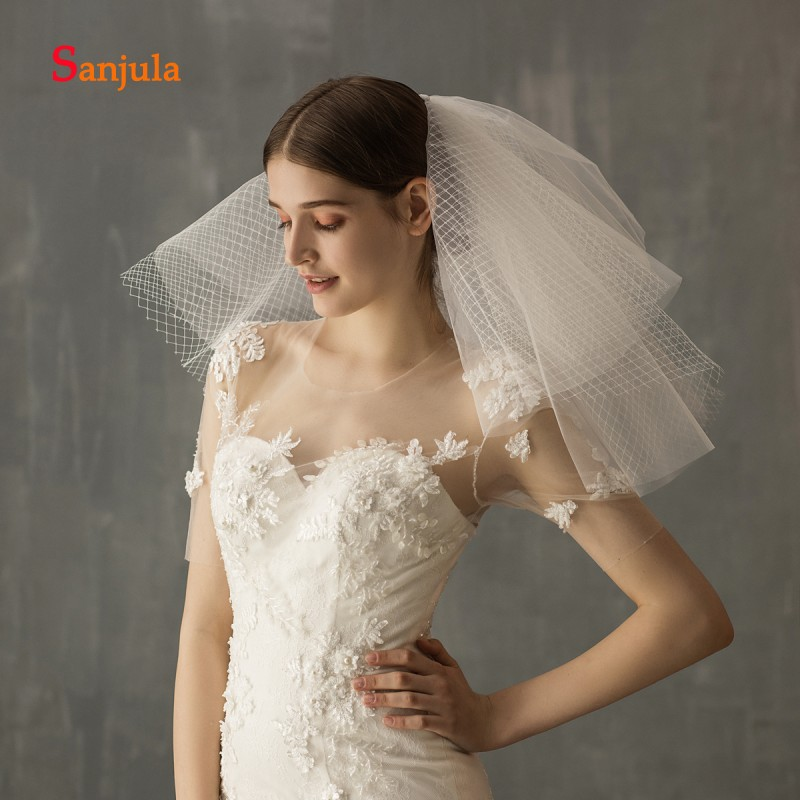 Multi-Layer Shoulder Length Bridal Veils Short White Tulle Wedding Veils with Comb Bride Wedding Hair Accessories V117
