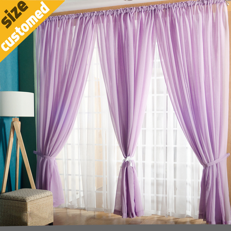 2016 Hot Sale Solid Sheer Curtain Modern Rod Pocket Top 24