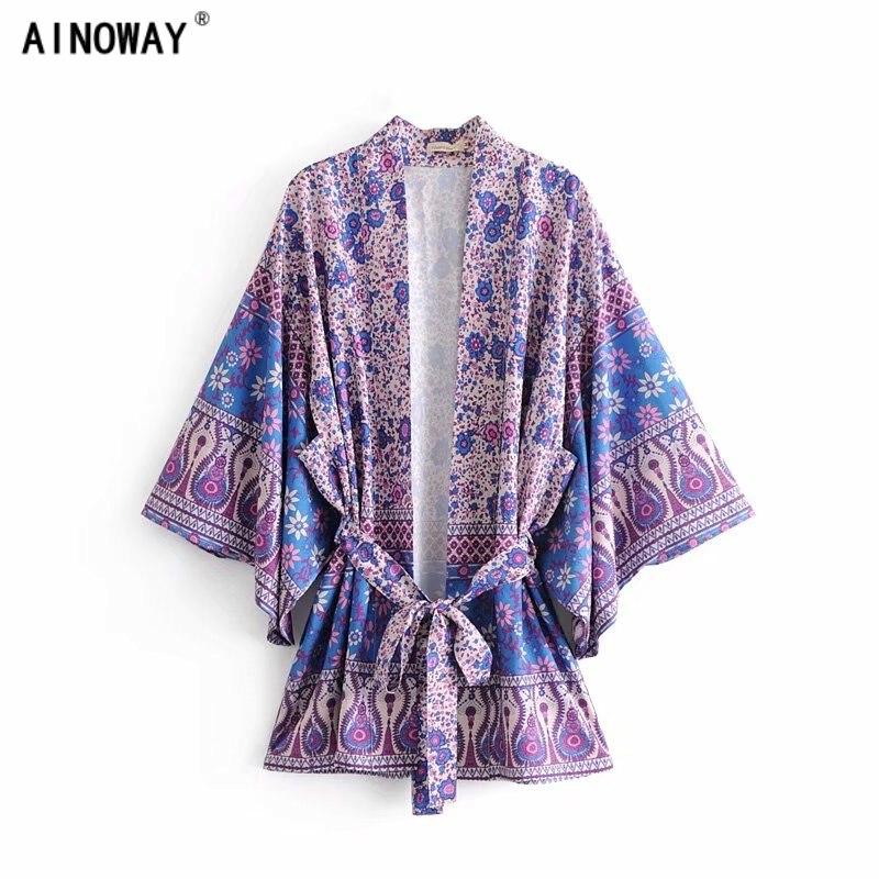 Boho Vintage Floral Print Sashes Kimono Women 2018 New Fashion V Neck batwing Sleeves Ladies Blouses Casual Blusas