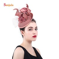 Handmade Flowers Bride Hats with Tulle Linen Hats Elegant Women's Formal Evening Party Hair Decoration Wedding Accessoreis H77