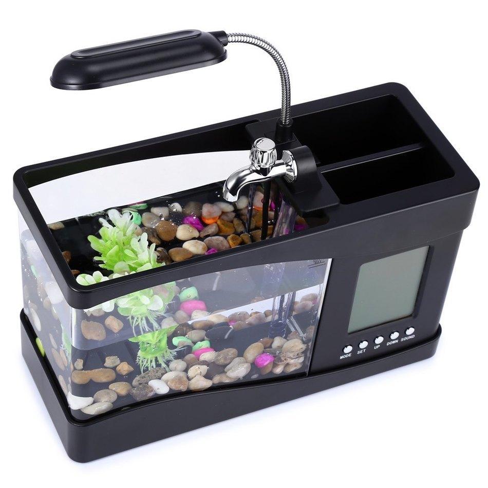Usb mini aquarium fish tank with colorful light - New Desk Lamp Usb Mini Fish Tank Desktop Electronic Aquarium Fish Tank With Water Running Led Pump Light Calendar Clock In Book Lights