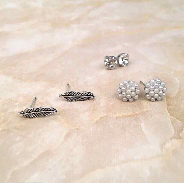 2017 New Style Earings Fashion Jewelry Geomtric Leaf 6 Pairs/Set Pearl Crystal Earrings Stud Earrings Set for Women five star