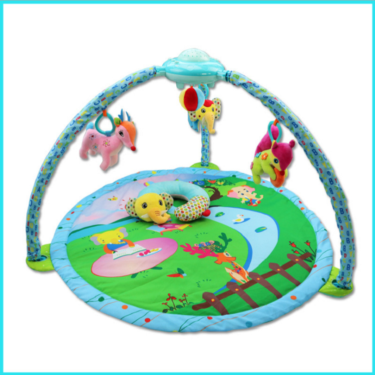 Elephant Pattern Soft Baby Play Mat Puzzle Toy 0-2 Years Old Game Blanket Multifunctional Crawling Pad With Rotating Light Music